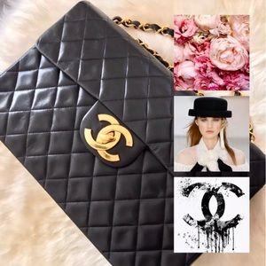 CHANEL Maxi XL Black Lambskin Single Flap 2.55 Bag